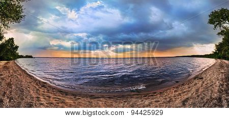 Sunset On The Lake. Panorama