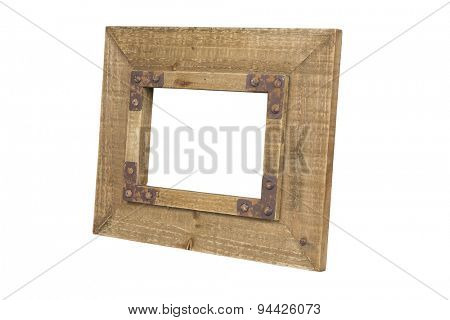 Old wooden picture frame with clipping path.