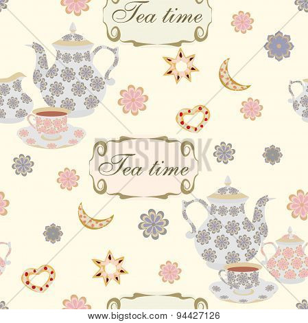 Seamless Pattern With Teapots And Cups.