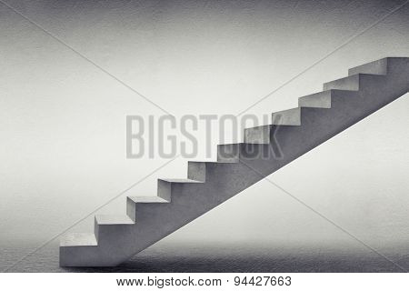 concrete stairs in grey empty room