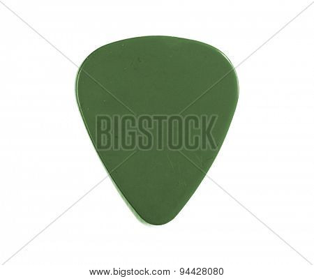 Guitar pick green isolated on a white background