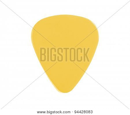 Guitar pick yellow isolated on a white background