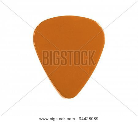 Guitar pick orange isolated on a white background