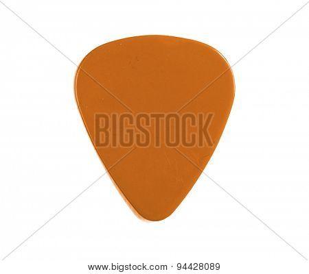 Guitar pick orange isolated on a white background