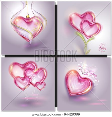 Vector illustration of shiny bubble heart. Valentines day card