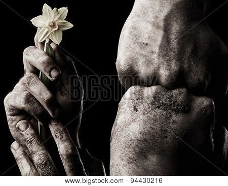 Hand With Flower And Clenched Fist