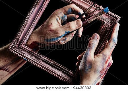 Wooden Frame In Hands. Conception Of Art