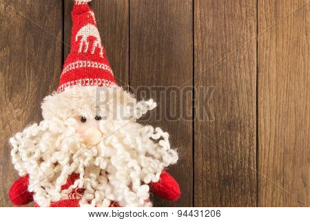 Santa Claus Christmas Decoration On Wooden Background