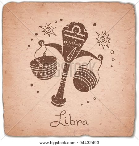 Libra zodiac sign horoscope vintage card.