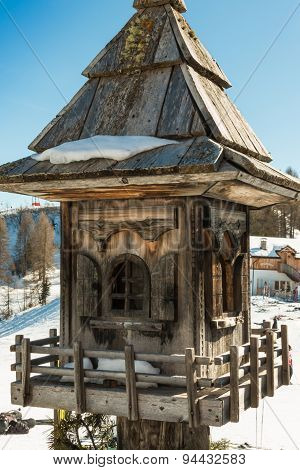 Inlaid Wooden Bird House Near Mountain's Chalet