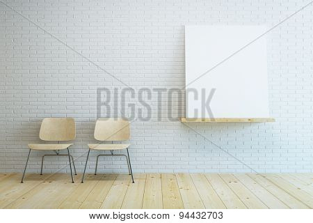 room with two modern chair and blank picture. 3D rendering