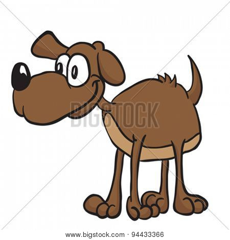 brown dog cartoon illustration isolated on white