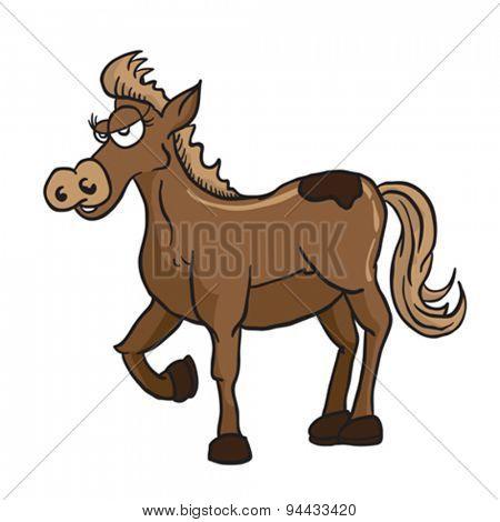 brown horse cartoon illustration