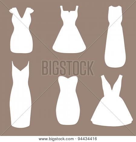 Set of woman white wedding  dresses. Fashion vintage illustration