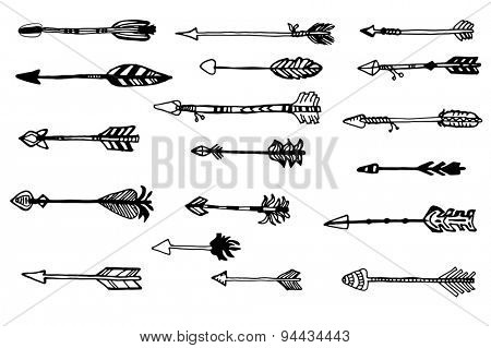 Doodle hand drawn arrows set.  Retro hand drawn sketch.