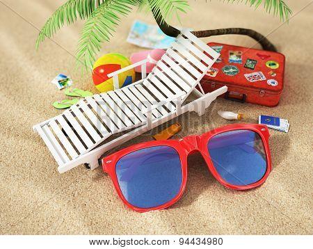 Travel Concept. Sunbed, World Map, Beach Shoes, Sunscreen, Passport, Air Tickets, Beach