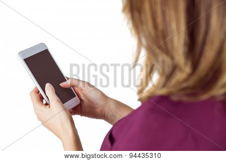 Woman sending text message on white background