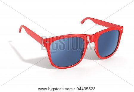 Red Sun Glasses Isolated Over The White Background.