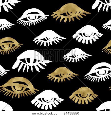 Seamless Trendy Blog Background With Handdrawn Gold And Black Ink Design Elements. Vector Eps10 Illu