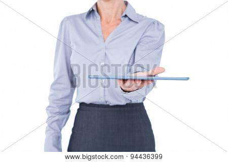 Businesswoman holding digital tablet on white background