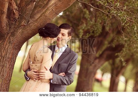 Cheerful Couple In The Park