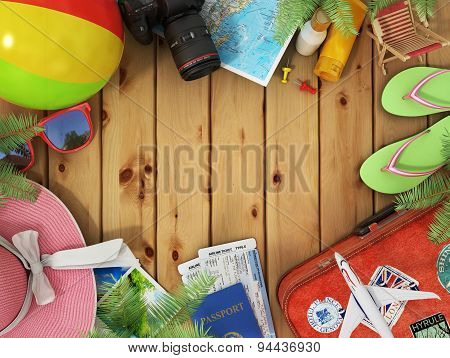 Travel concept. Sunbed sunglass world map beach shoes sunscreen passport air ticketscamera palms b