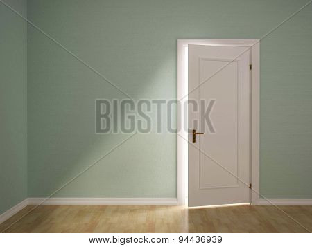 3D Illustration Of Open The Door To The Green Room