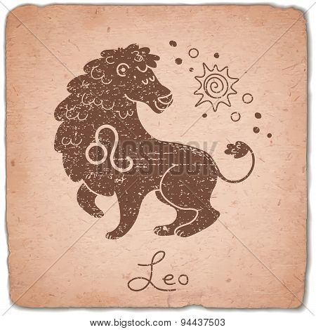 Leo zodiac sign horoscope vintage card.