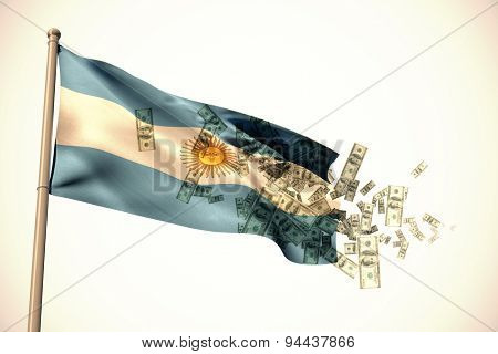 Falling dollars against white background with vignette