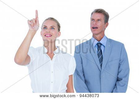 business people looking far away against a white wall