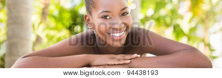 Close up of a beautiful young woman on massage table at health farm