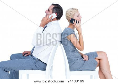 business people having phone call on white background