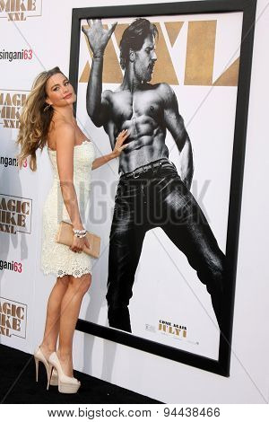 LOS ANGELES - JUN 25:  Sofia Vergara, Joe Manganiello Magic Mike XXL Poster at the