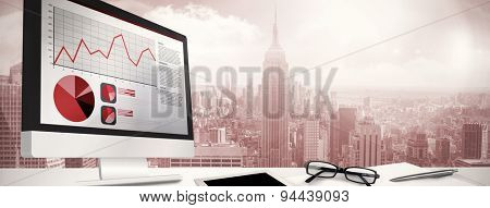 Business interface with graphs and data against room with large window looking on city
