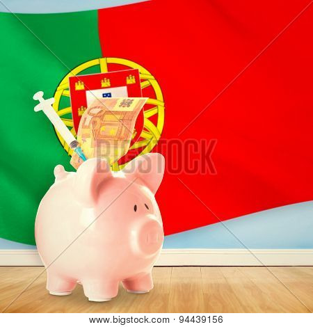 Health insurance concept against digitally generated portugese national flag