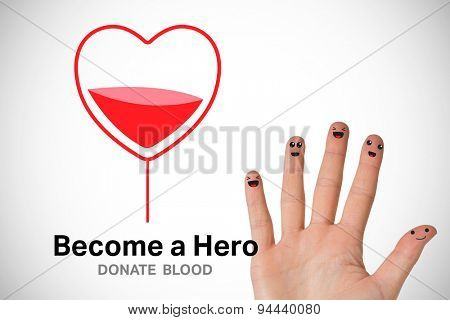 Blood donation against white background with vignette