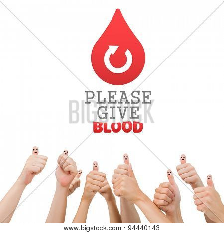 Blood donation against hands showing thumbs up
