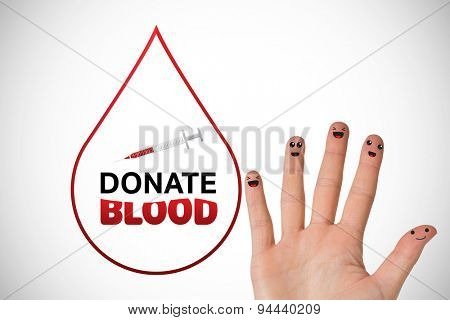 donate blood against white background with vignette