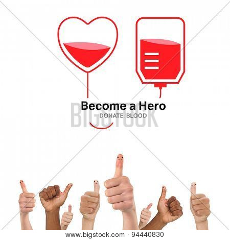 Blood donation against thumbs up