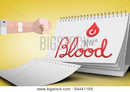 Blood donation against yellow vignette
