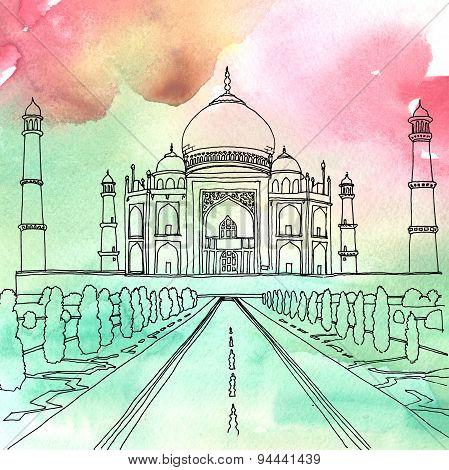 Drawing Of The Taj Mahal. Agra, India