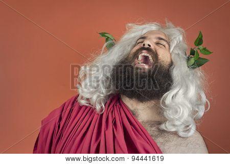 Laughing zeus god or jupiter against orange background