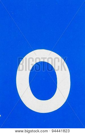 White Letter O From Traffic Road Sign