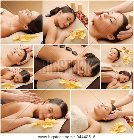 beauty, healthy lifestyle and relaxation concept - collage of many pictures with beautiful asian woman having facial or body massage in spa salon