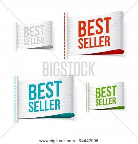 White Bestseller Labels With Shadow