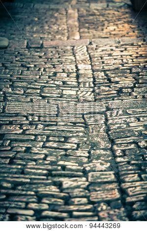 Cobblestone Pavement Close Up Background