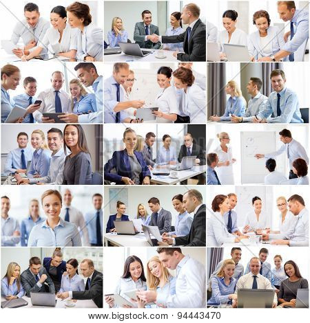 success concept - collage with many business people