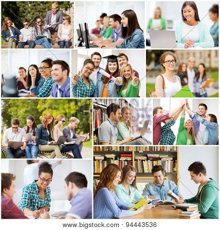 education concept - collage with many pictures of students in college, university or high school