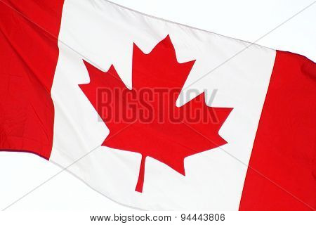 Close up of the CANADA flag - flying free on Canada Day