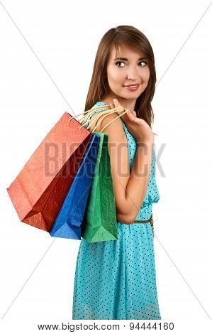 Smiling Woman With A Gift Bag
